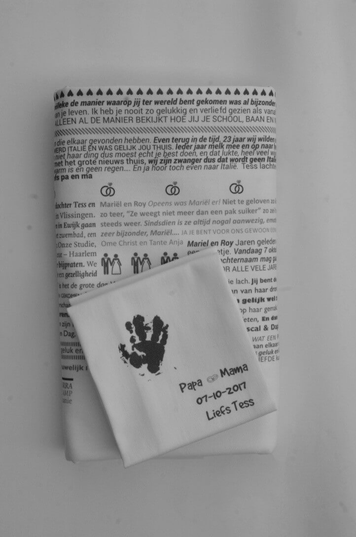Huwelijkscadeau | uniek op maat | tafellaken | servetten